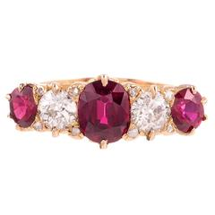 Victorian English Carved Ruby Diamond Five Stone Ring