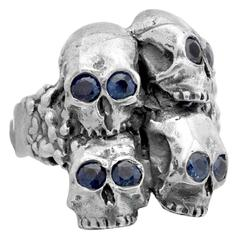 Soffer Ari Men's 'Don't $%*& Around' Silver Skull Ring
