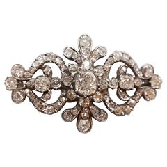 1850s English Victorian Diamond Floral Brooch