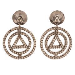 Insignia White Diamonds Pyramid Earrings