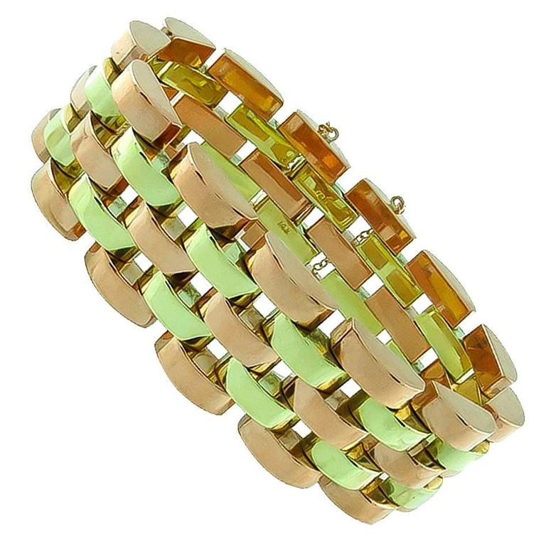 Retro Two-Tone Yellow Rose Gold Bracelet
