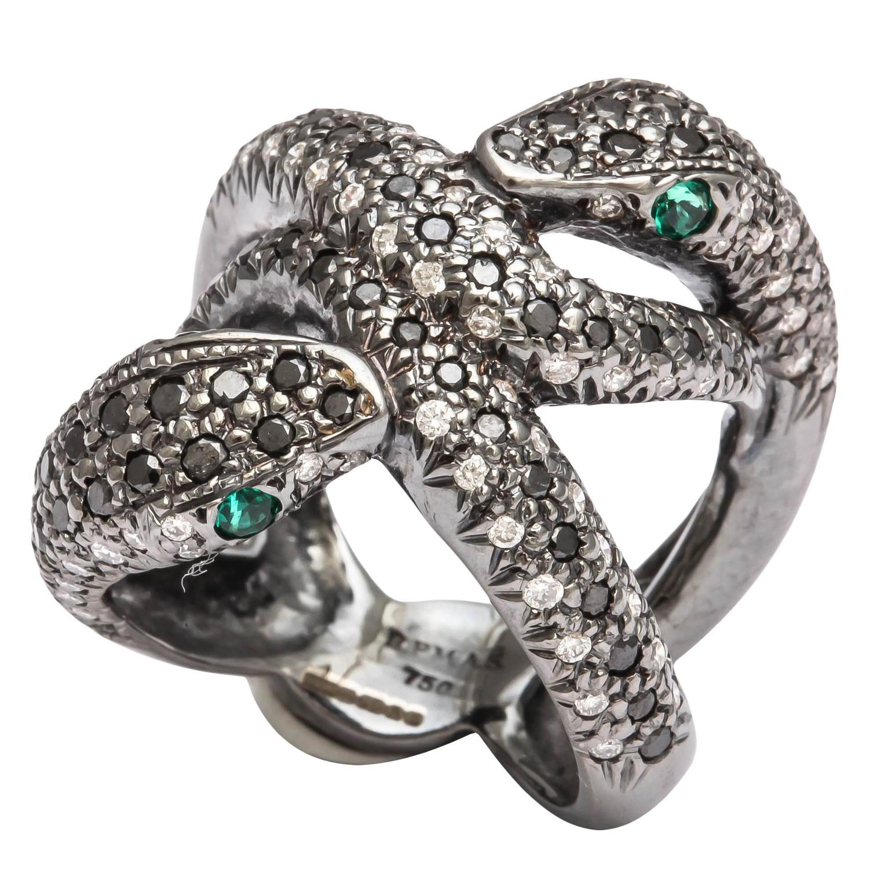 faraone mennella emerald gold snake ring at 1stdibs