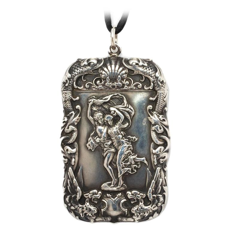 Sterling Silver Art Nouveau Match Safe Pendant Necklace For Sale