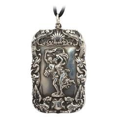 Sterling Silver Art Nouveau Match Safe Pendant Necklace