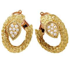 Boucheron Toi et Moi Serpent Bohème Yellow Gold Diamond Clip-On Earrings