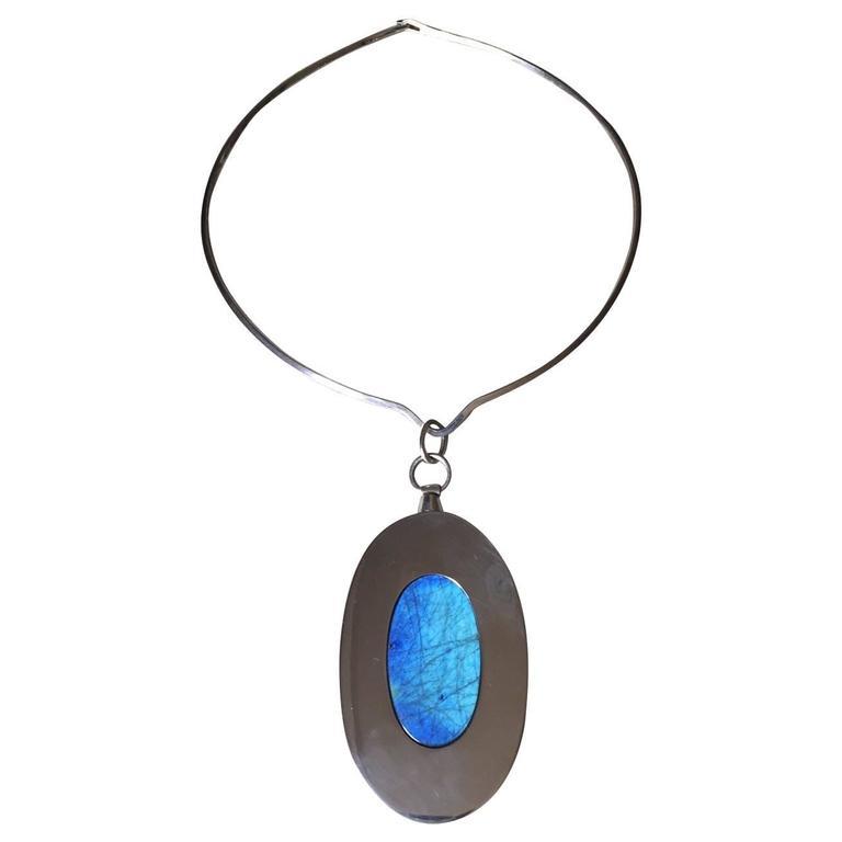 Kaunis Koru Sterling Silver Pendant with Labradorite by Olavi L. Wehmersuo 1