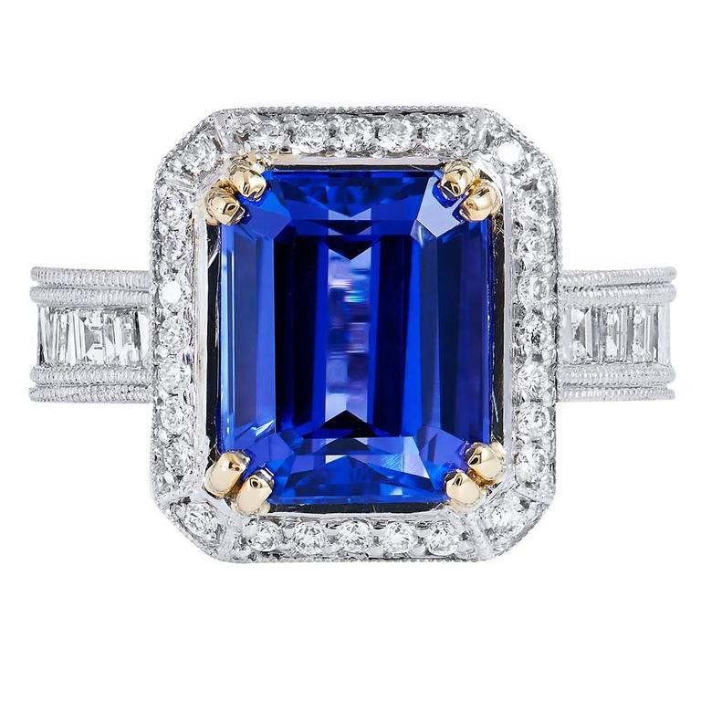 4.91 Carat Tanzanite Diamond Ring For Sale