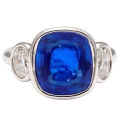 Natural Unheated Ceylon Sapphire Diamond Platinum Ring