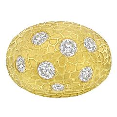 Gold and Diamond Domed Cocktail Ring