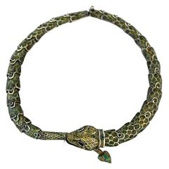 Margot De Taxco Enamel Sterling Silver Snake Necklace