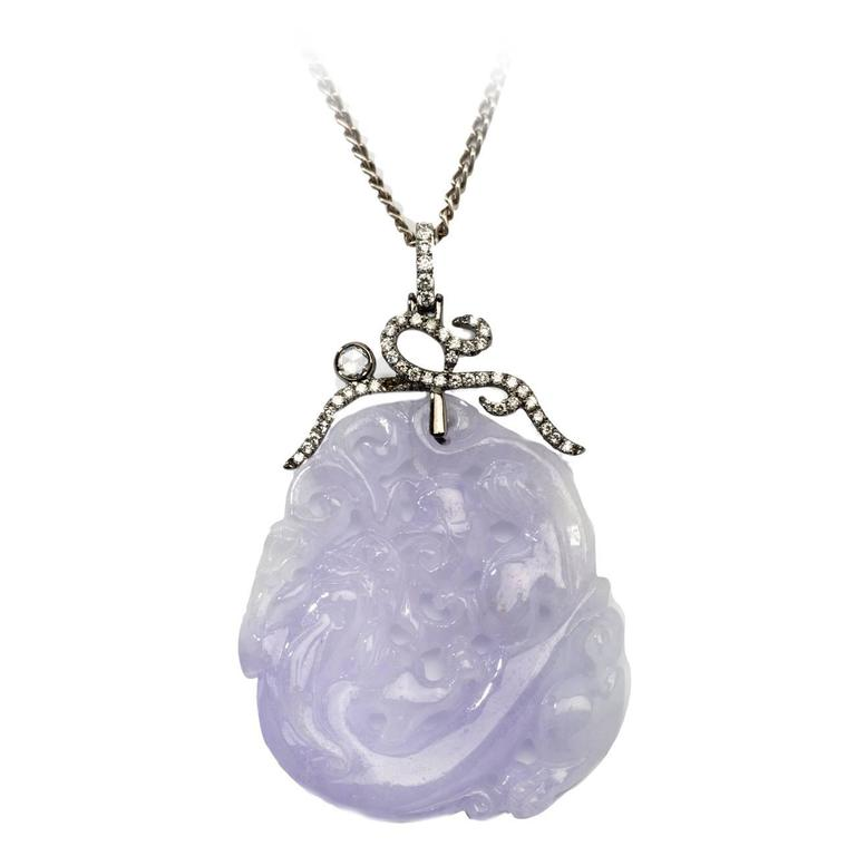 Carved Purple Jade Gold Pendant with Diamonds