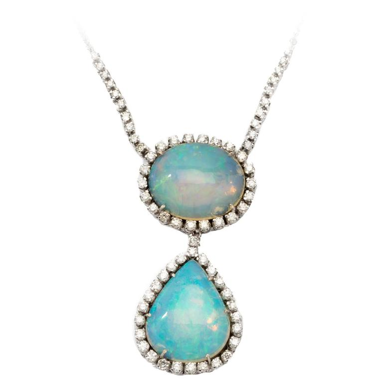 Double Opal and Diamond 18 Carat White Gold Pendant