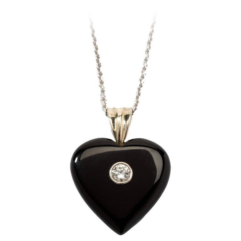 1930s Onyx and Diamond Heart Pendant