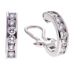 Channel Set Round Diamond Gold Hoop Earrings