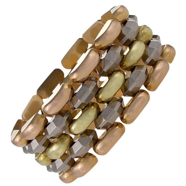 retro tri color gold bracelet at 1stdibs