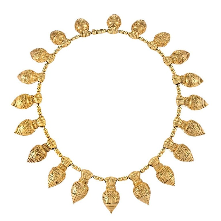 Austro-Hungarian Etruscan revival necklace, 1880s, offered by Macklowe Gallery Jewelry