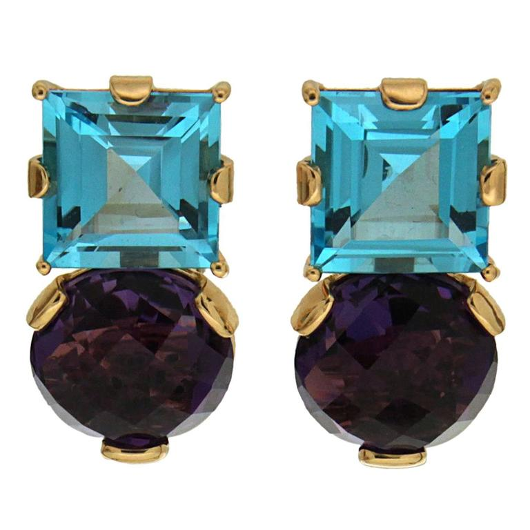Square Blue Topaz Round Amethyst Gold Earrings 1