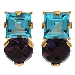 Square Blue Topaz Round Amethyst Gold Earrings