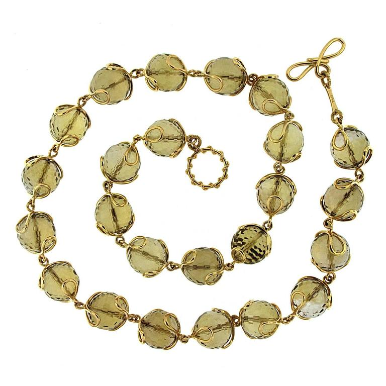 Carina Citrine Gold Faceted Ball Necklace 1
