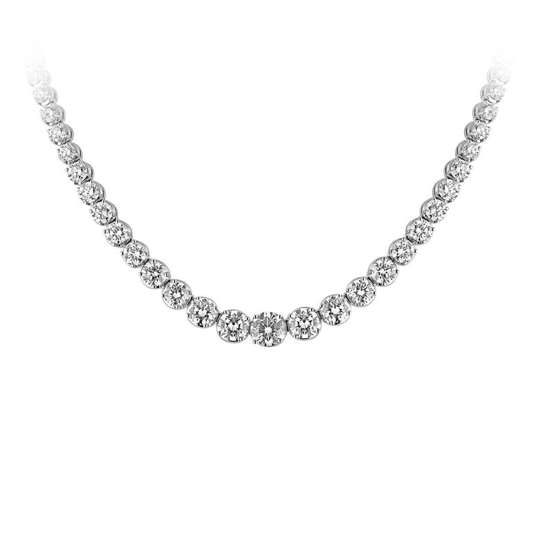 13.10 Carat Diamond Gold Riviere Necklace