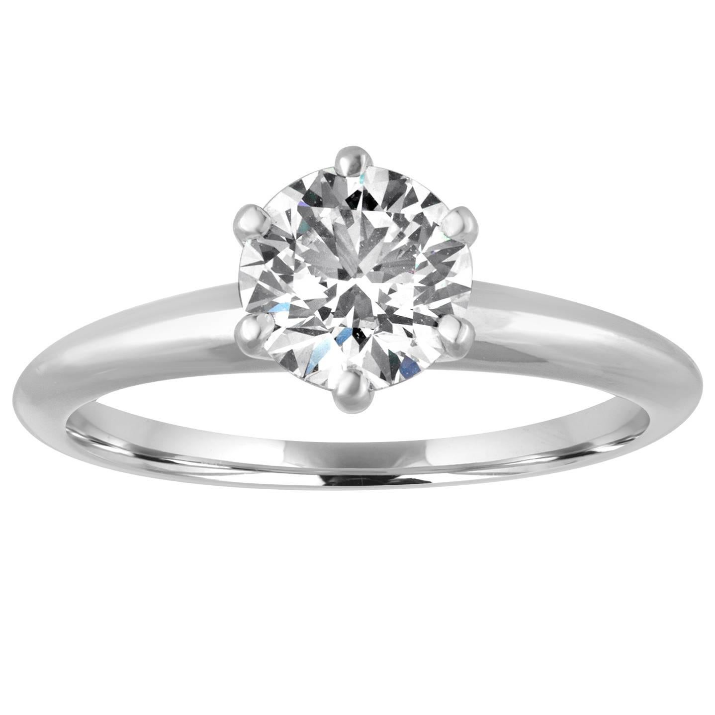 Tiffany & Co. GIA Certified 1.19 Carat F VS1 Diamond Platinum Ring