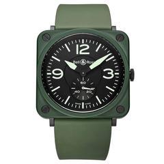 Bell & Ross ceramic BR S Military Green quartz wristwatch