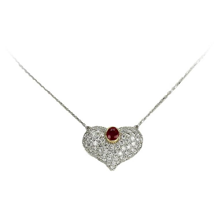 3.25 Carat Ruby Diamond Gold Heart Statement Necklace
