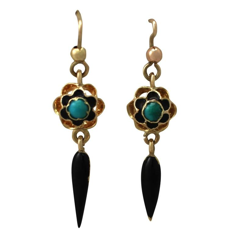 Turquoise and Enamel. 18k Yellow Gold Earrings - Antique Circa 1890