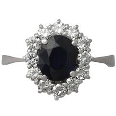 1.20Ct Sapphire & 0.60Ct Diamond, 18k White Gold Cluster Ring - Vintage
