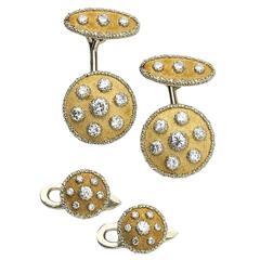 Buccellati diamond gold cufflinks and studs set