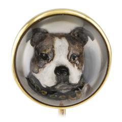J E Caldwell Essex Crystal Boxer Dog Stick Pin