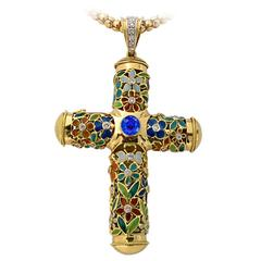 Enamel Sapphire Diamond Gold Cross Necklace