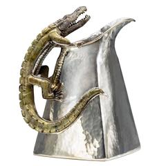 Spectacular Castillo Hand-Hammered Figural Silver Plated Pitcher