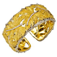 Mario buccellati diamond Gold Wide Cuff Bracelet