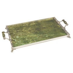 Antique Sterling Silver Nephrite Tray