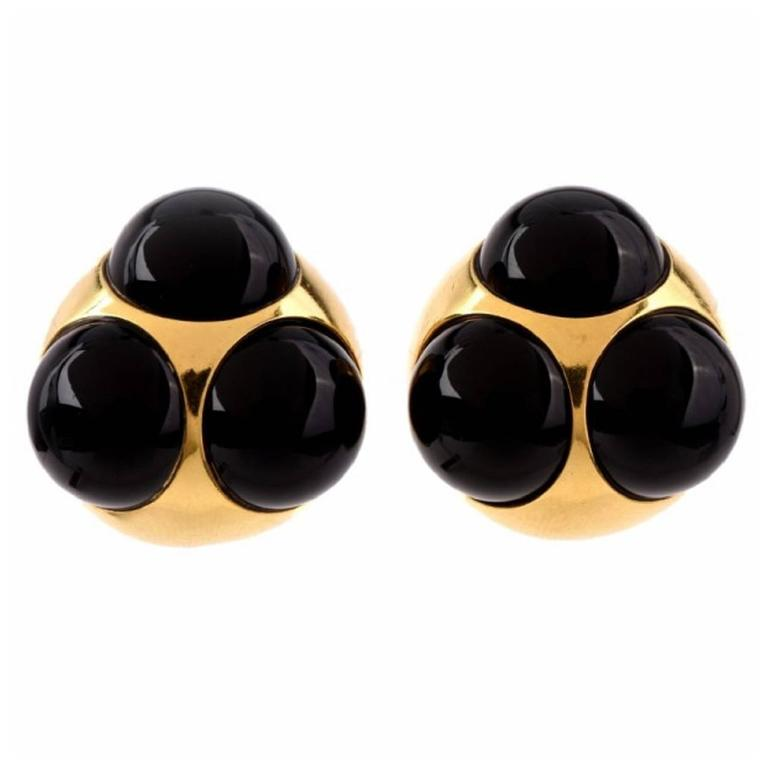 Tiffany & Co. Paloma Picasso Onyx Gold Clip-Back Earrings For Sale