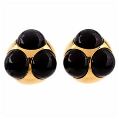 Tiffany & Co. Paloma Picasso Onyx Gold Clip-Back Earrings