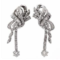 Large Diamond platinum drop Earrings