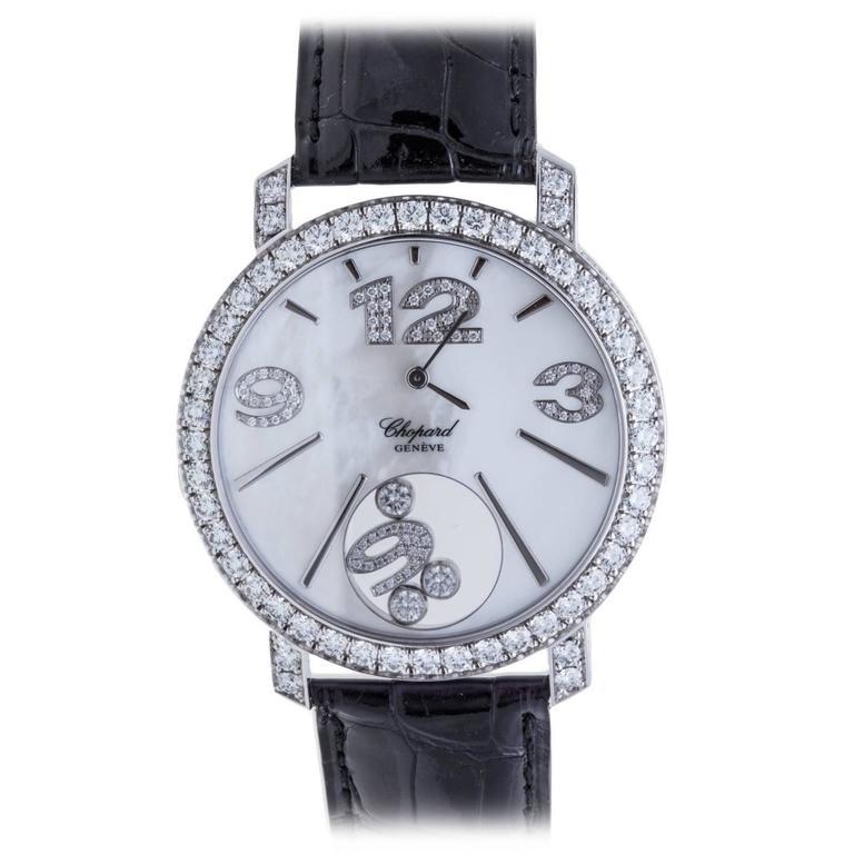 Chopard Ladies White Gold Happy Diamonds Quartz Wristwatch ref 207450-10