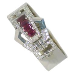 Burmese Ruby Diamond platinum Bangle bracelet
