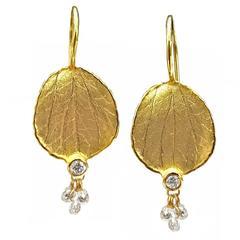 Barbara Heinrich Round Diamond Gold Diamond Briolette Petal Earrings