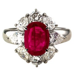 2.23 Carat Burma Ruby Diamond Platinum Ring