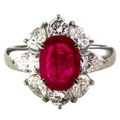 2.23 Carat Burma Ruby Diamond Platinum Cluster Ring