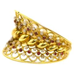 Retro ruby diamond gold French Bangle bracelet
