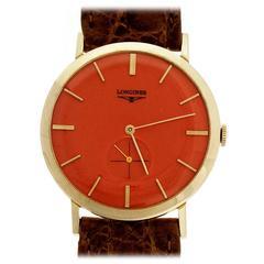 Longines yellow Gold Manual Wind Custom Color Orange Dial Wristwatch