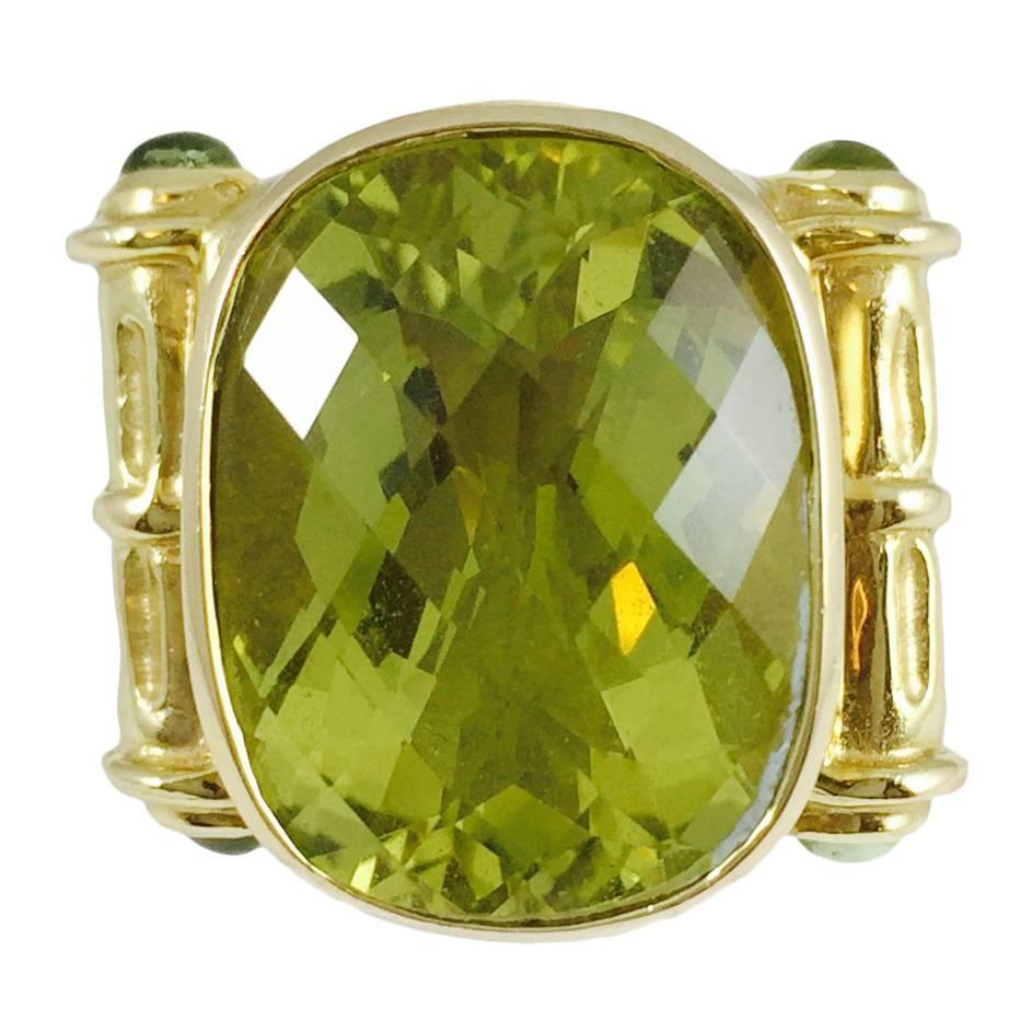 impressive peridot gold ring at 1stdibs