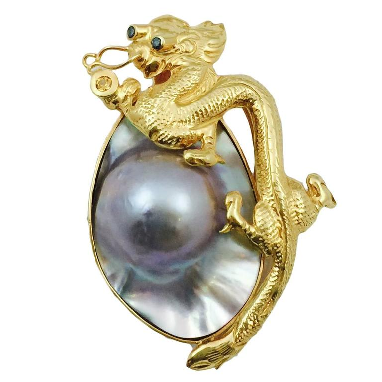 Dragon Blister Pearl gold Brooch Enhancer 1