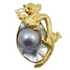 Dragon Blister Pearl gold Brooch Enhancer