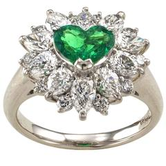 Heart-Shaped Emerald Diamond Platinum Cluster Ring