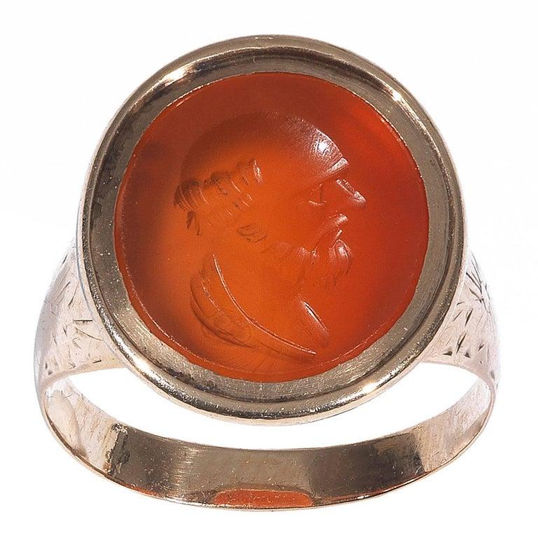 Carnelian Gold Intaglio Socrates Ring For Sale